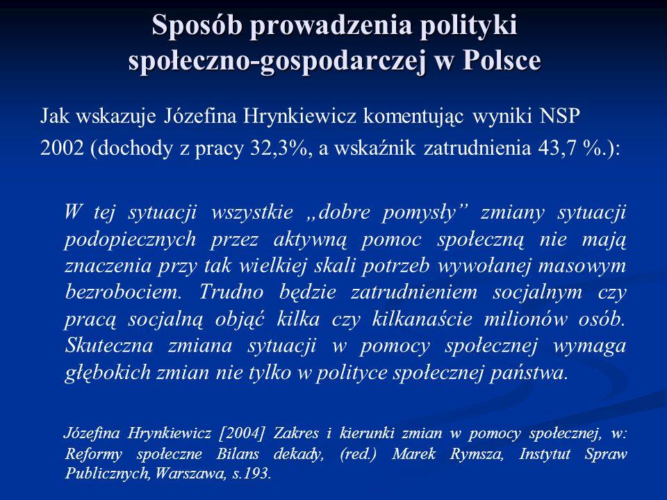 Sposób prowadzenia polityki społeczno-gospodarczej w Polsce