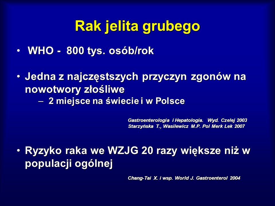 Rak jelita grubego WHO - 800 tys. osób/rok