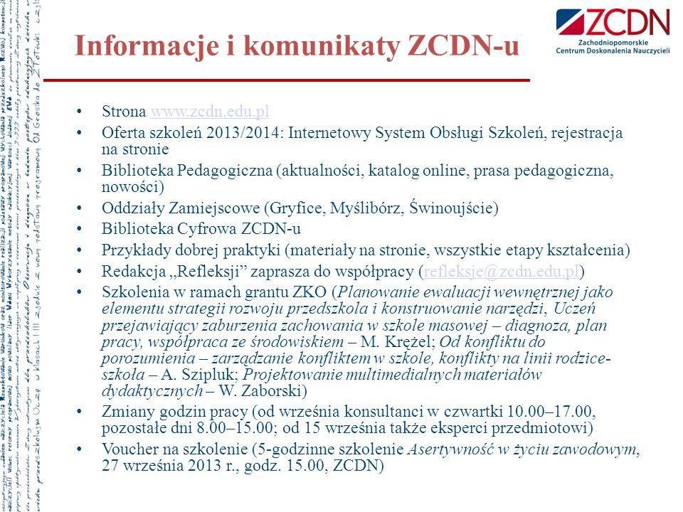 Informacje i komunikaty ZCDN-u