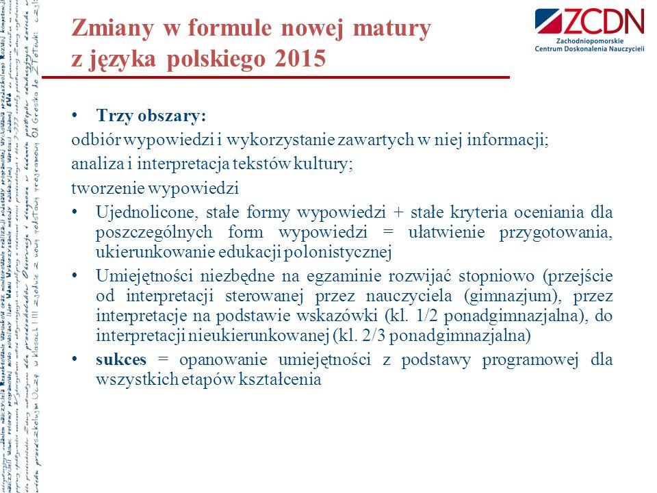 Zmiany w formule nowej matury z języka polskiego 2015