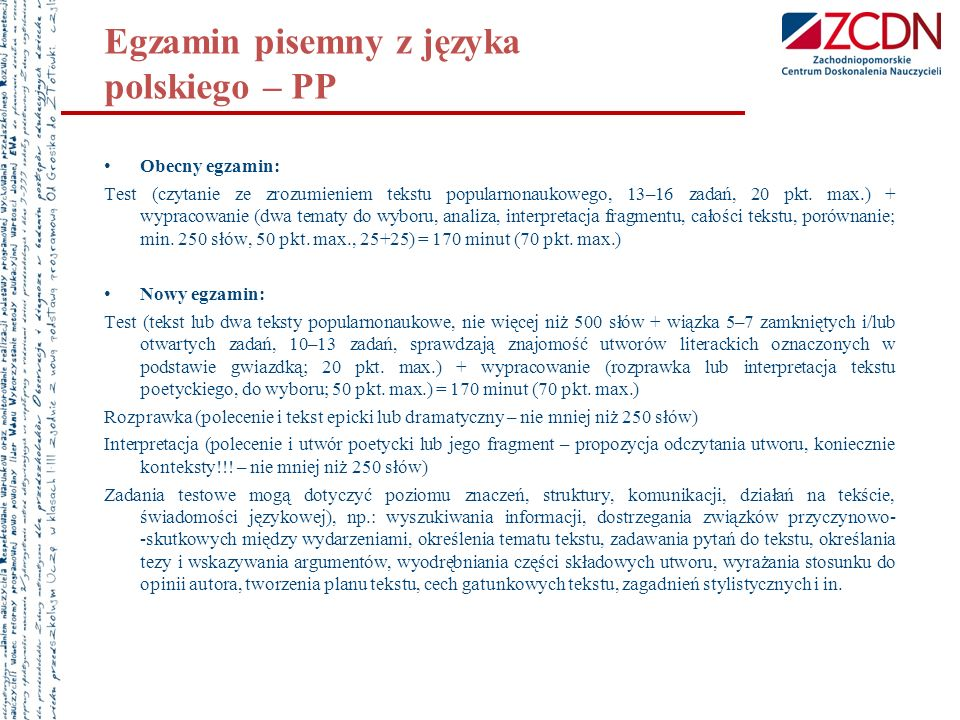 Egzamin pisemny z języka polskiego – PP