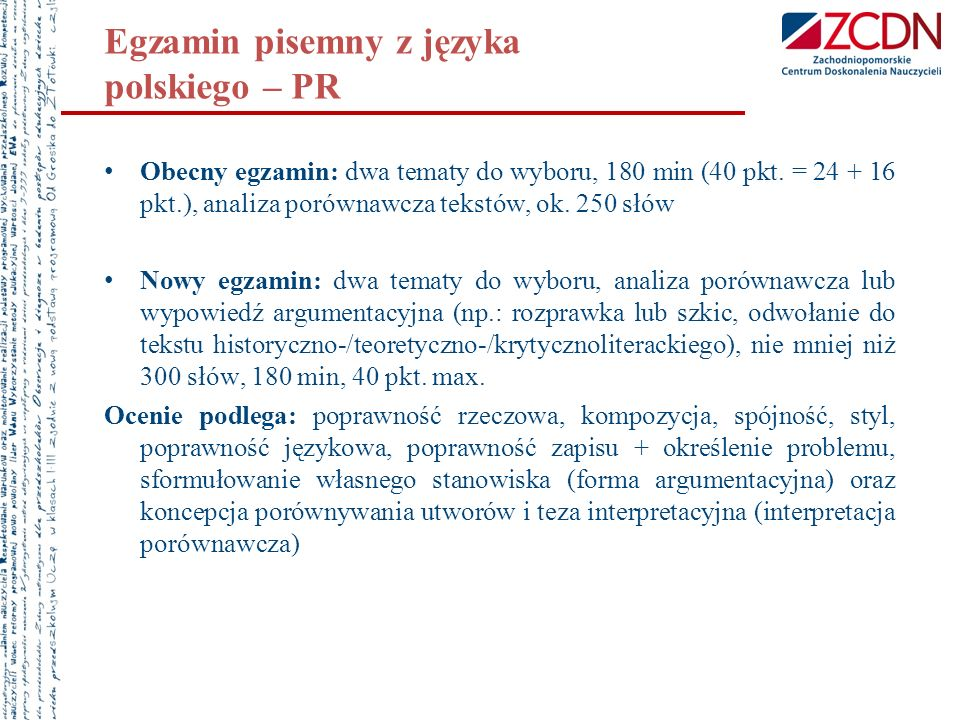 Egzamin pisemny z języka polskiego – PR