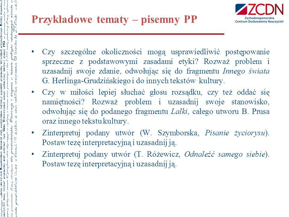 Przykładowe tematy – pisemny PP