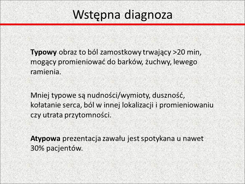 Wstępna diagnoza Typowy obraz to ból zamostkowy trwający >20 min, mogący promieniować do barków, żuchwy, lewego ramienia.