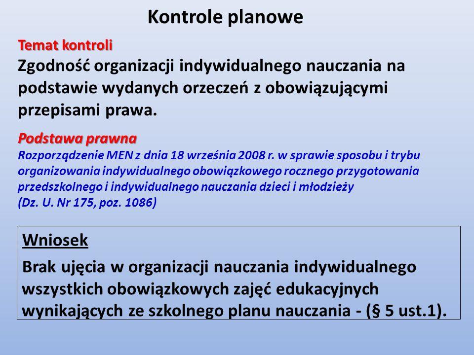 Kontrole planowe Temat kontroli. Zgodność organizacji indywidualnego nauczania na podstawie wydanych orzeczeń z obowiązującymi przepisami prawa.
