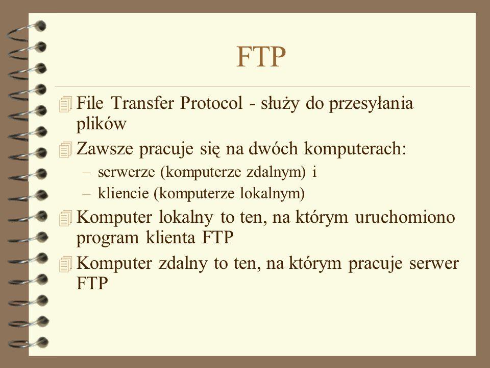 FTP File Transfer Protocol - służy do przesyłania plików