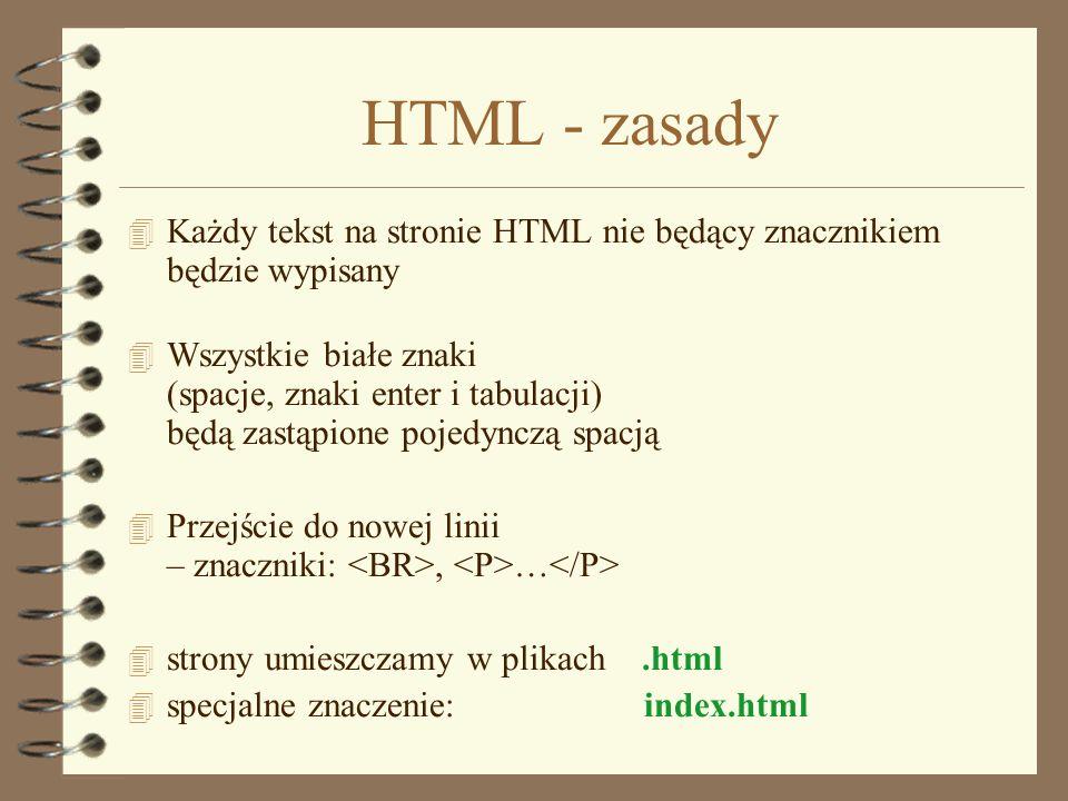 HTML - zasadyKażdy tekst na stronie HTML nie będący znacznikiem będzie wypisany.