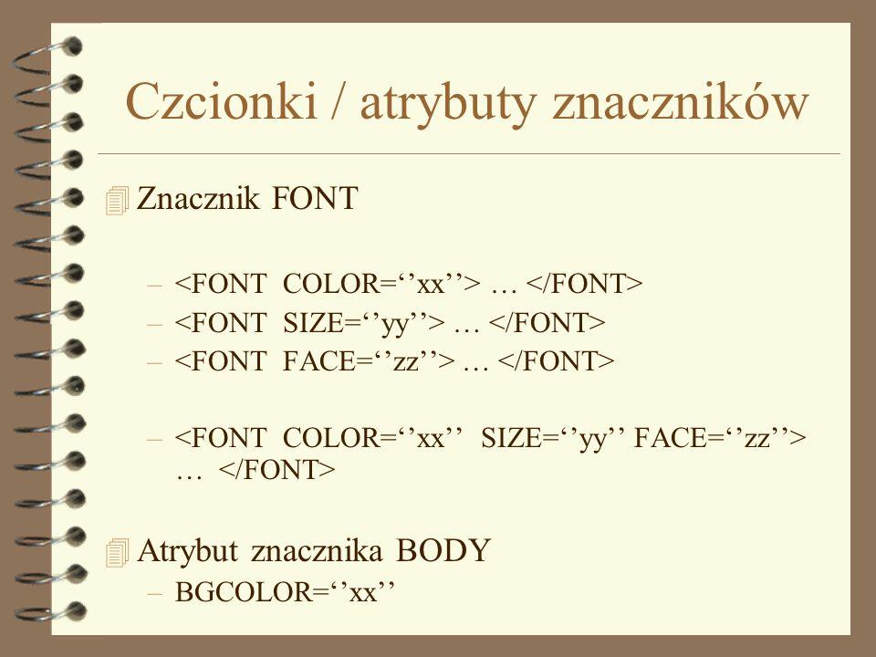 Czcionki / atrybuty znaczników
