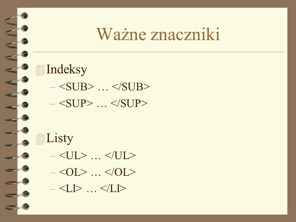Ważne znaczniki Indeksy Listy <SUB> … </SUB>