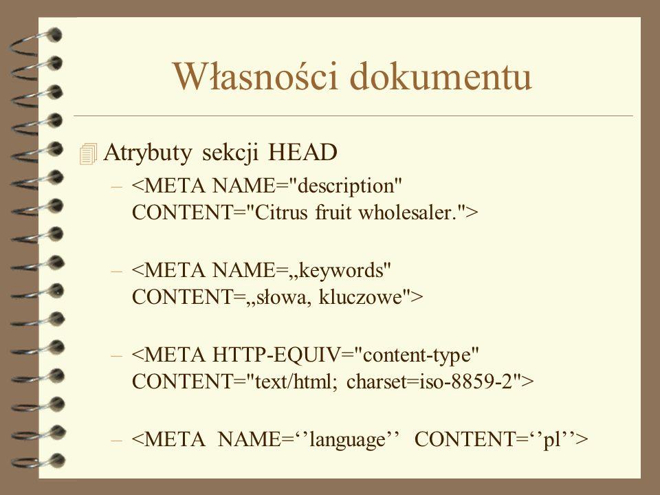 Własności dokumentu Atrybuty sekcji HEAD