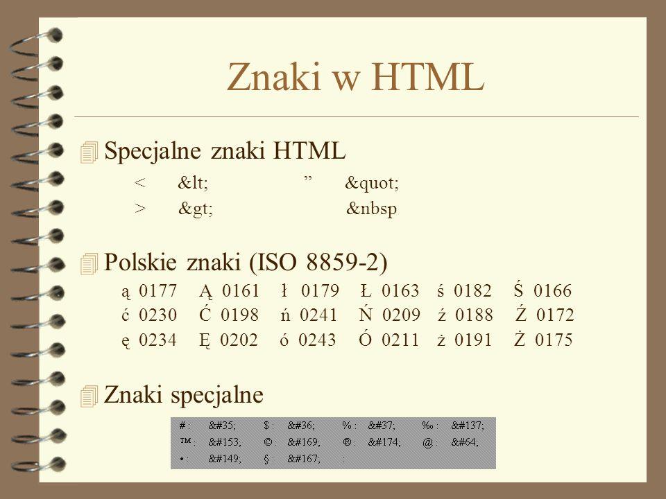 Znaki w HTML Specjalne znaki HTML Polskie znaki (ISO 8859-2)