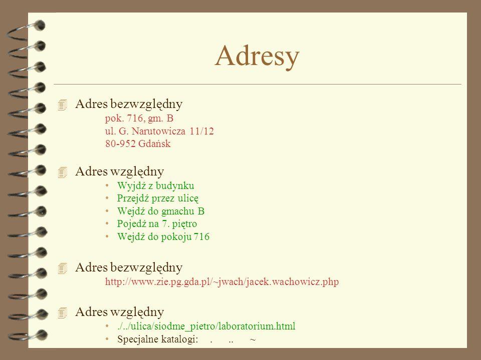 Adresy Adres bezwzględny Adres względny pok. 716, gm. B