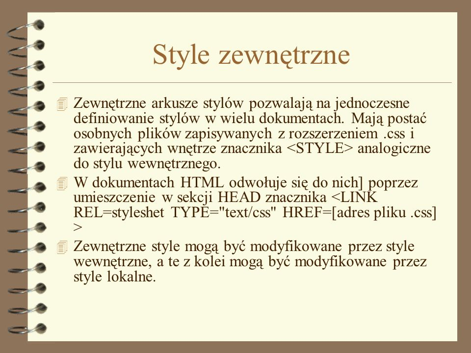 Style zewnętrzne