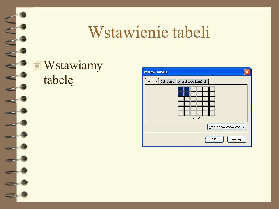 Wstawienie tabeli Wstawiamy tabelę
