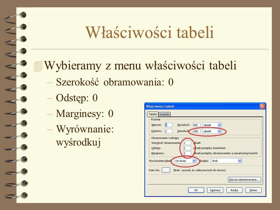 Właściwości tabeli Wybieramy z menu właściwości tabeli