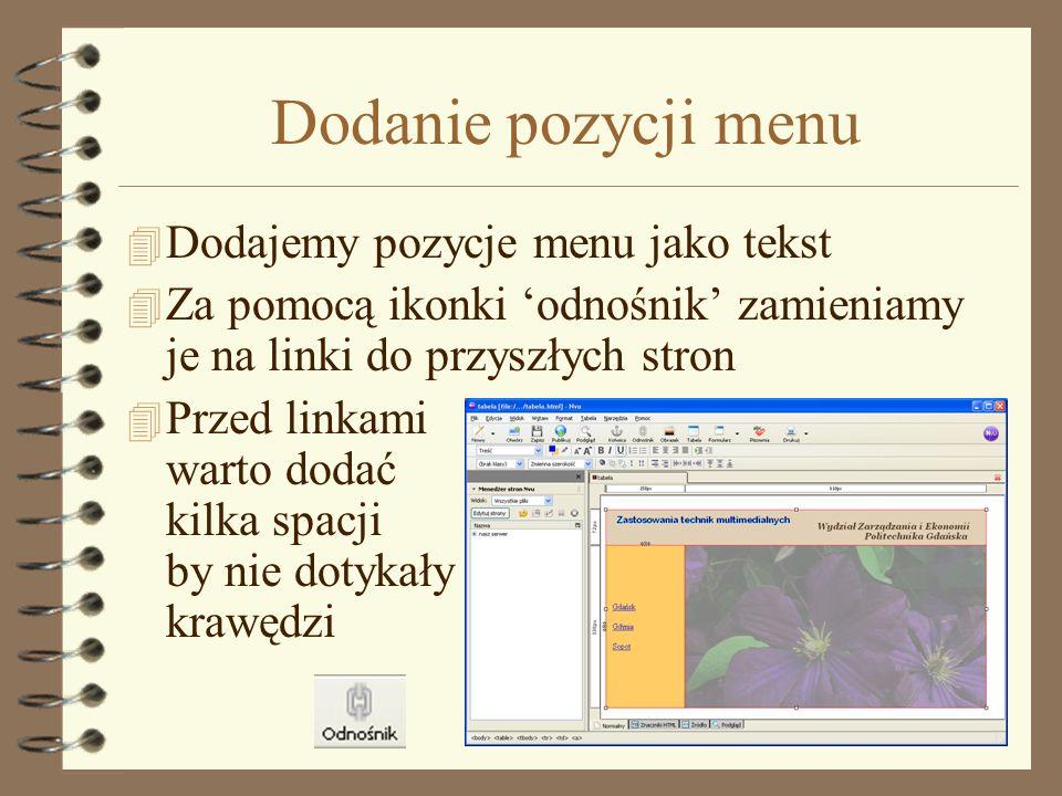Dodanie pozycji menu Dodajemy pozycje menu jako tekst
