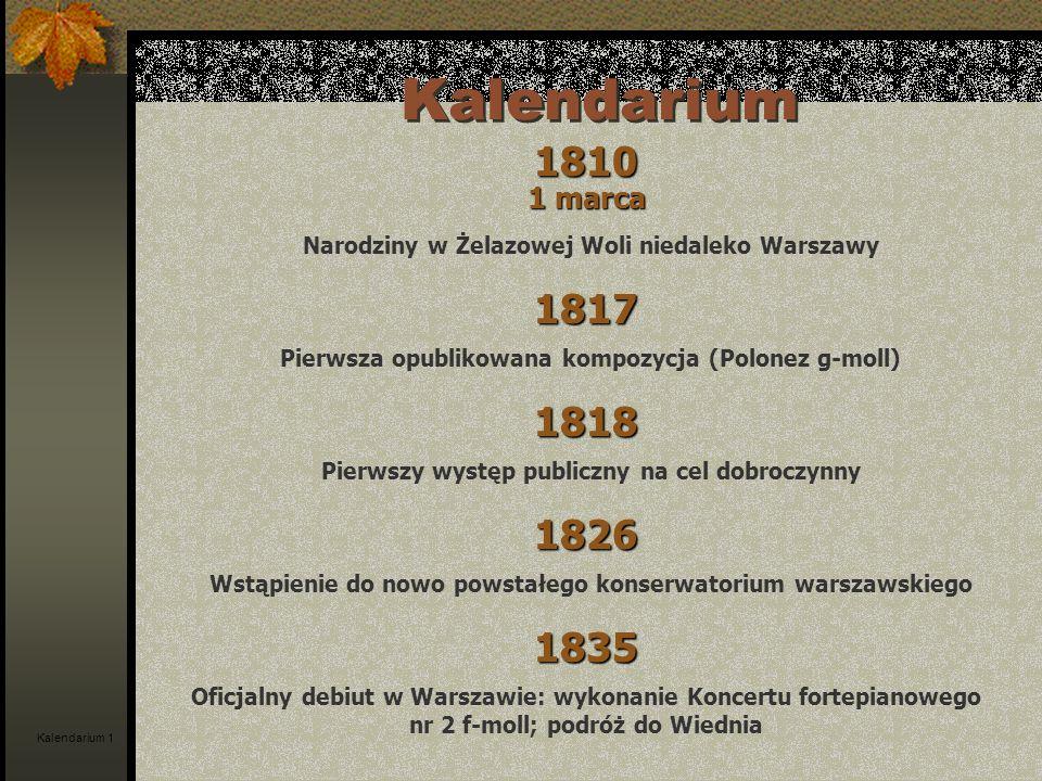 Kalendarium 1810. 1 marca. Narodziny w Żelazowej Woli niedaleko Warszawy. 1817. Pierwsza opublikowana kompozycja (Polonez g-moll)