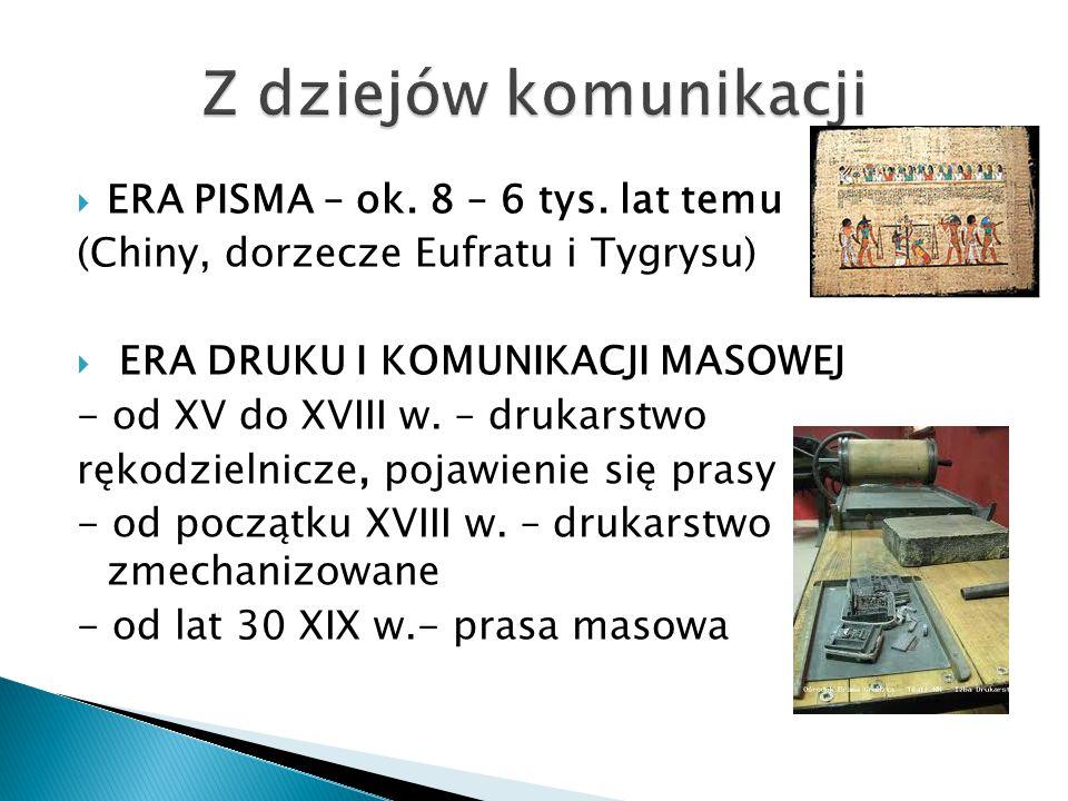 Z dziejów komunikacji ERA PISMA – ok. 8 – 6 tys. lat temu