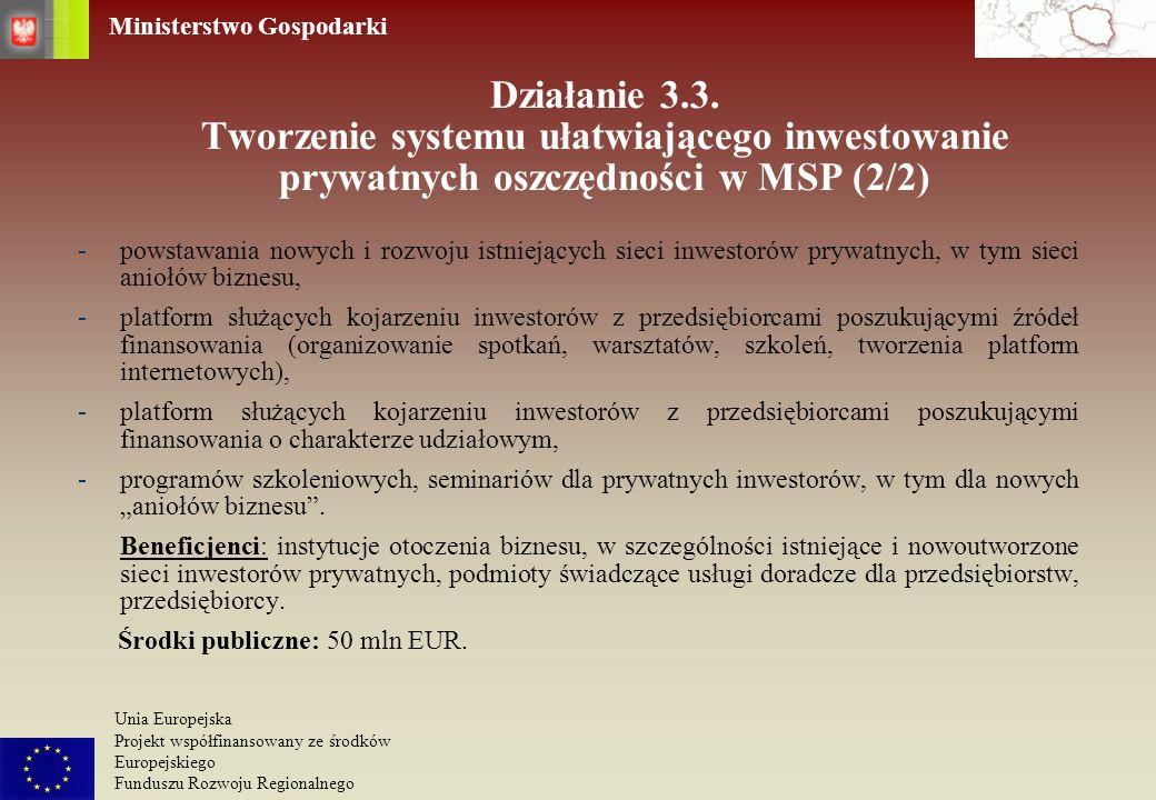 Działanie 3.3. Tworzenie systemu ułatwiającego inwestowanie prywatnych oszczędności w MSP (2/2)