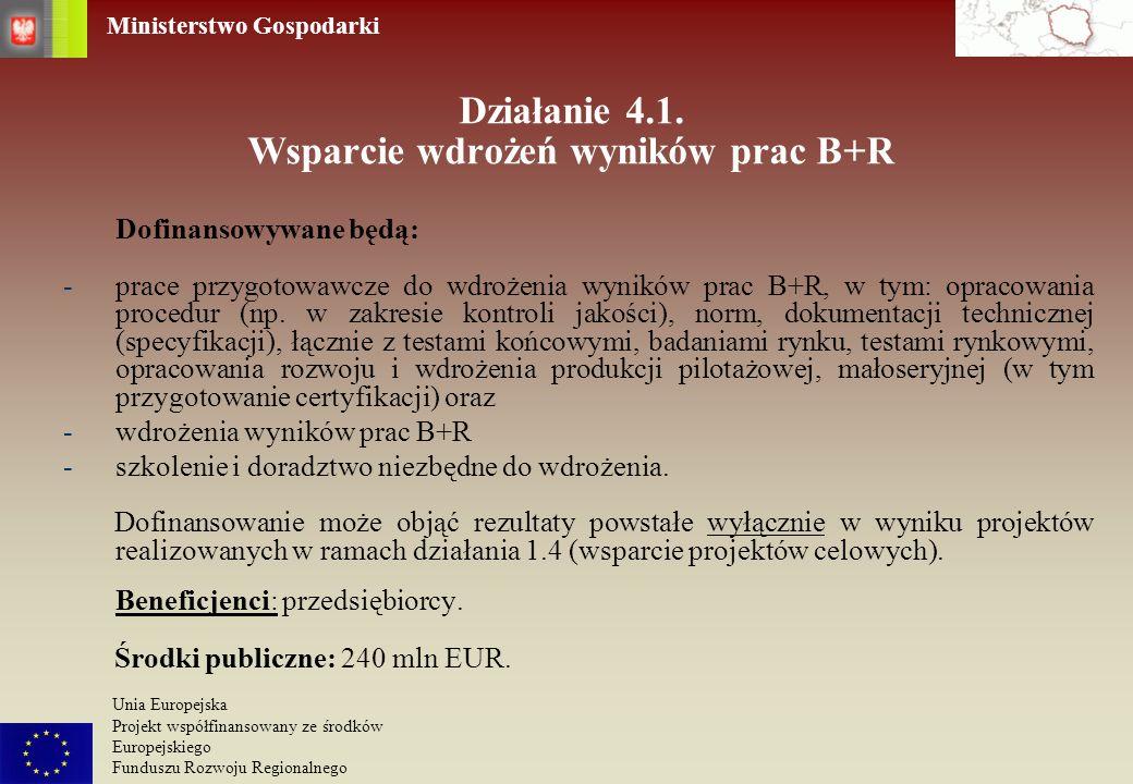 Działanie 4.1. Wsparcie wdrożeń wyników prac B+R