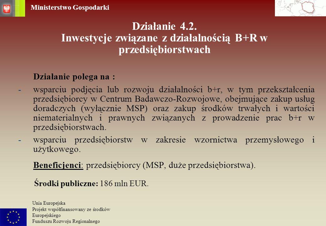 Działanie 4.2. Inwestycje związane z działalnością B+R w przedsiębiorstwach