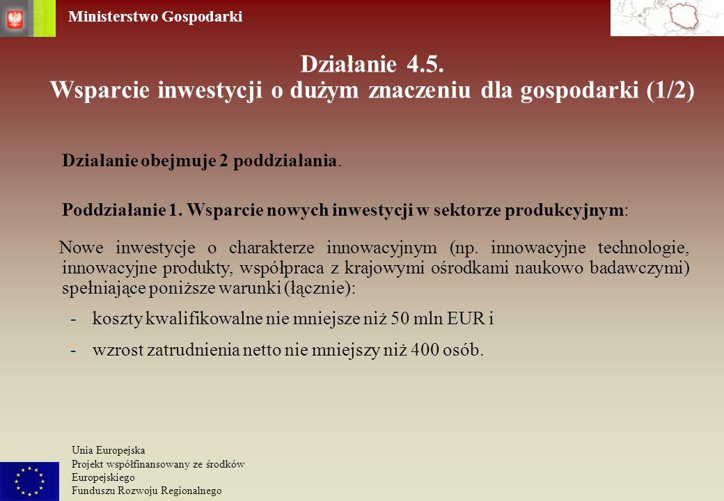 Działanie 4.5. Wsparcie inwestycji o dużym znaczeniu dla gospodarki (1/2)