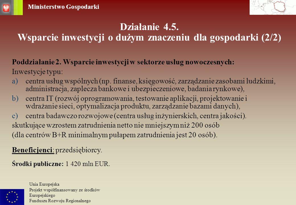 Działanie 4.5. Wsparcie inwestycji o dużym znaczeniu dla gospodarki (2/2)
