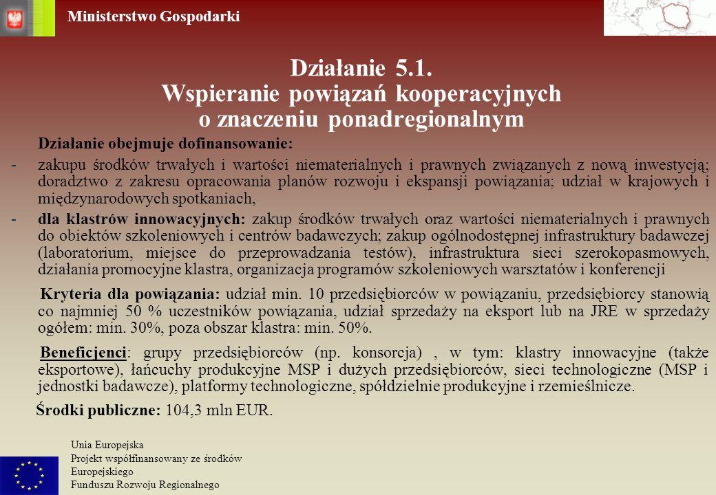 Działanie 5.1. Wspieranie powiązań kooperacyjnych o znaczeniu ponadregionalnym