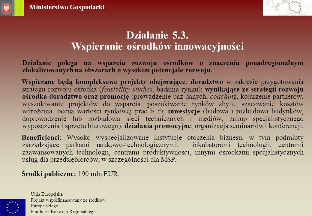 Działanie 5.3. Wspieranie ośrodków innowacyjności