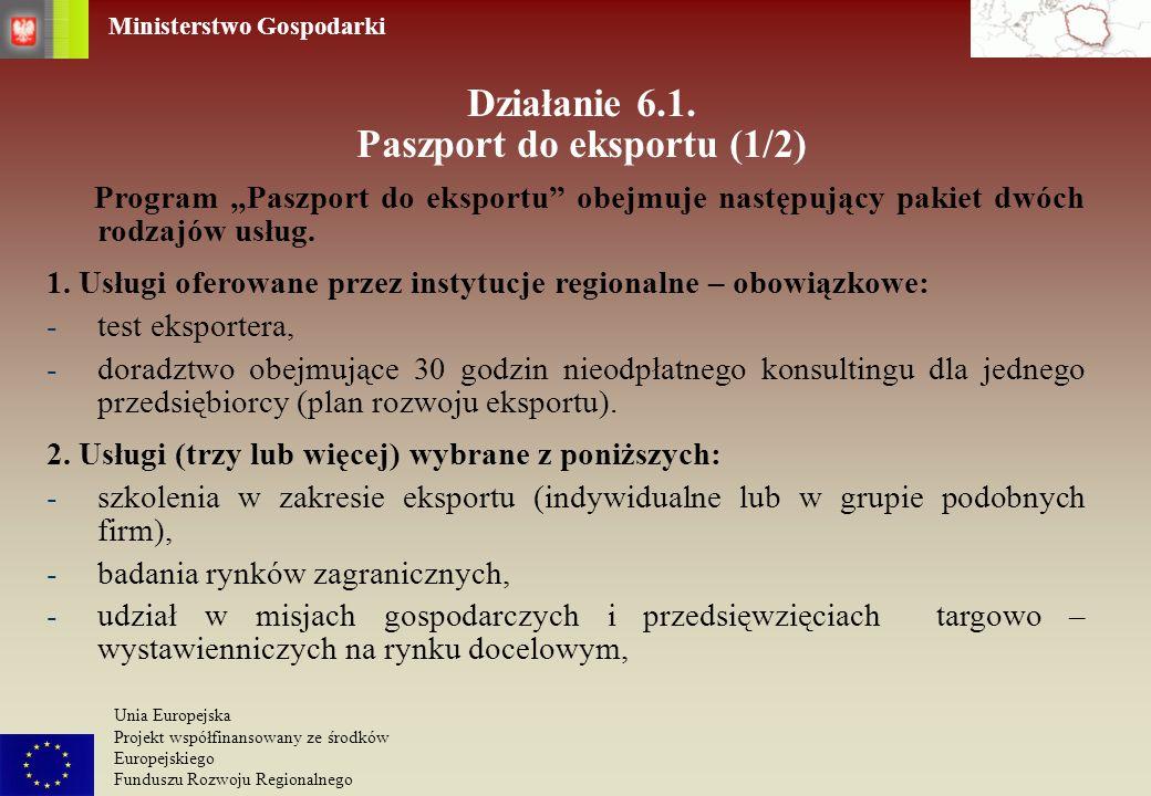 Działanie 6.1. Paszport do eksportu (1/2)