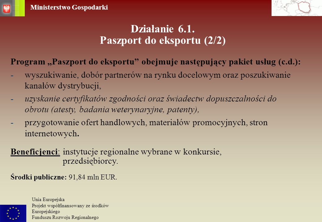 Działanie 6.1. Paszport do eksportu (2/2)