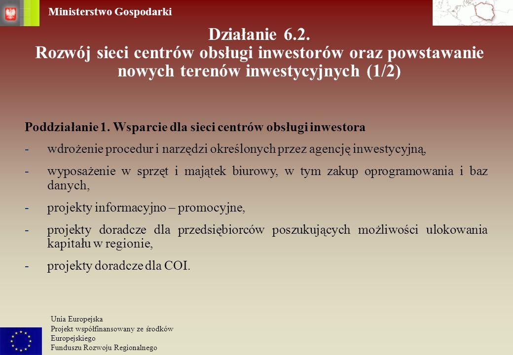 Działanie 6.2. Rozwój sieci centrów obsługi inwestorów oraz powstawanie nowych terenów inwestycyjnych (1/2)