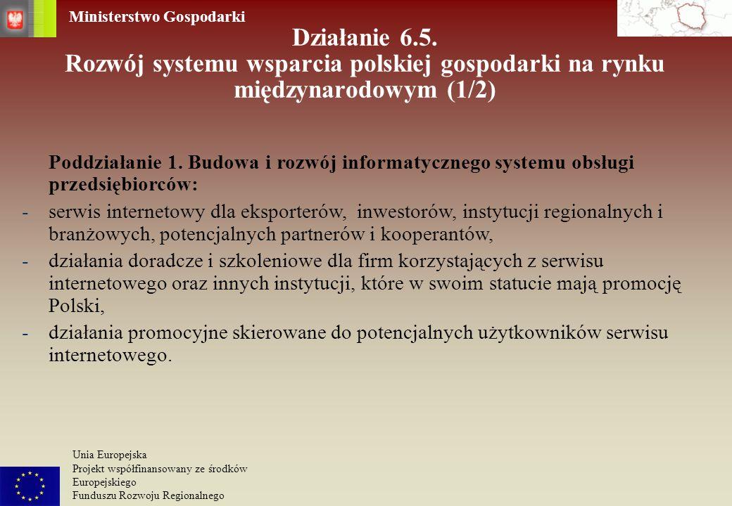 Działanie 6.5. Rozwój systemu wsparcia polskiej gospodarki na rynku międzynarodowym (1/2)