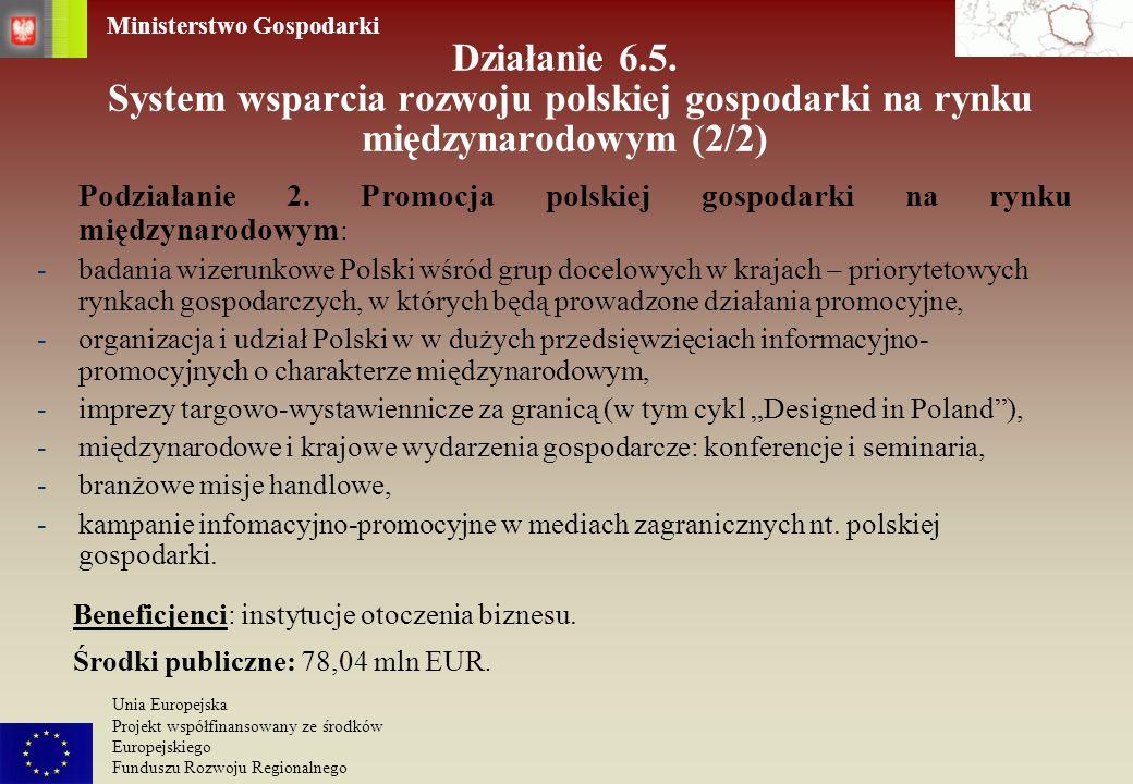 Działanie 6.5. System wsparcia rozwoju polskiej gospodarki na rynku międzynarodowym (2/2)