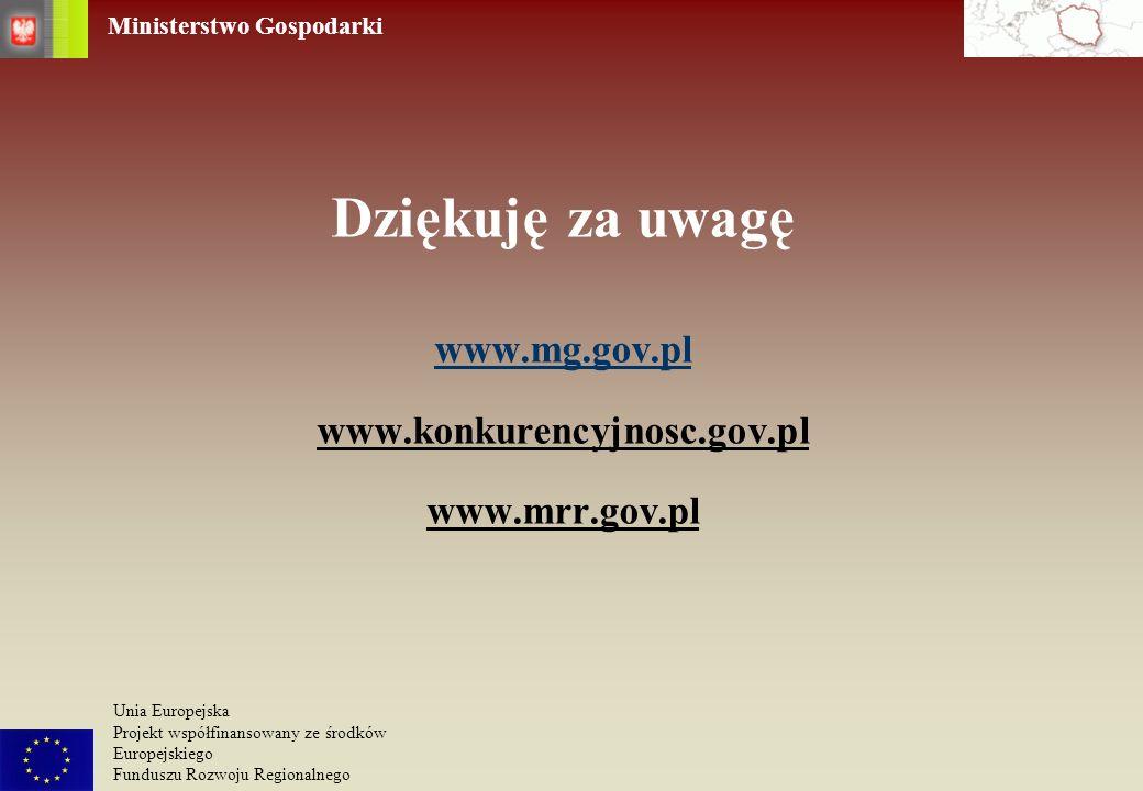 Dziękuję za uwagę www. mg. gov. pl www. konkurencyjnosc. gov. pl www