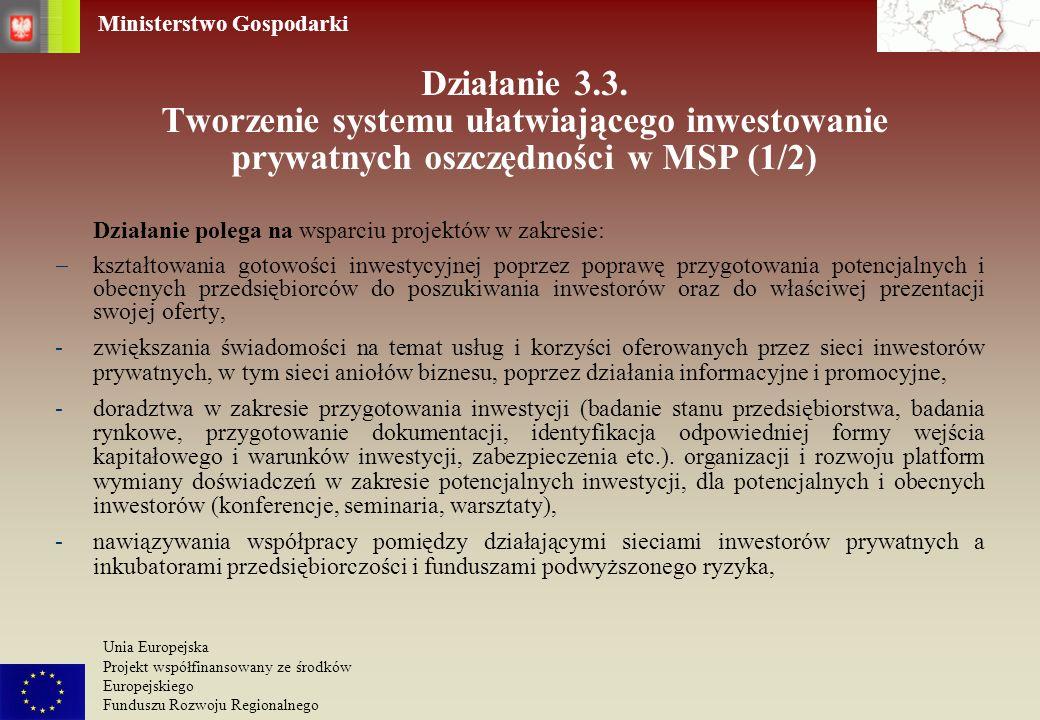Działanie 3.3. Tworzenie systemu ułatwiającego inwestowanie prywatnych oszczędności w MSP (1/2)