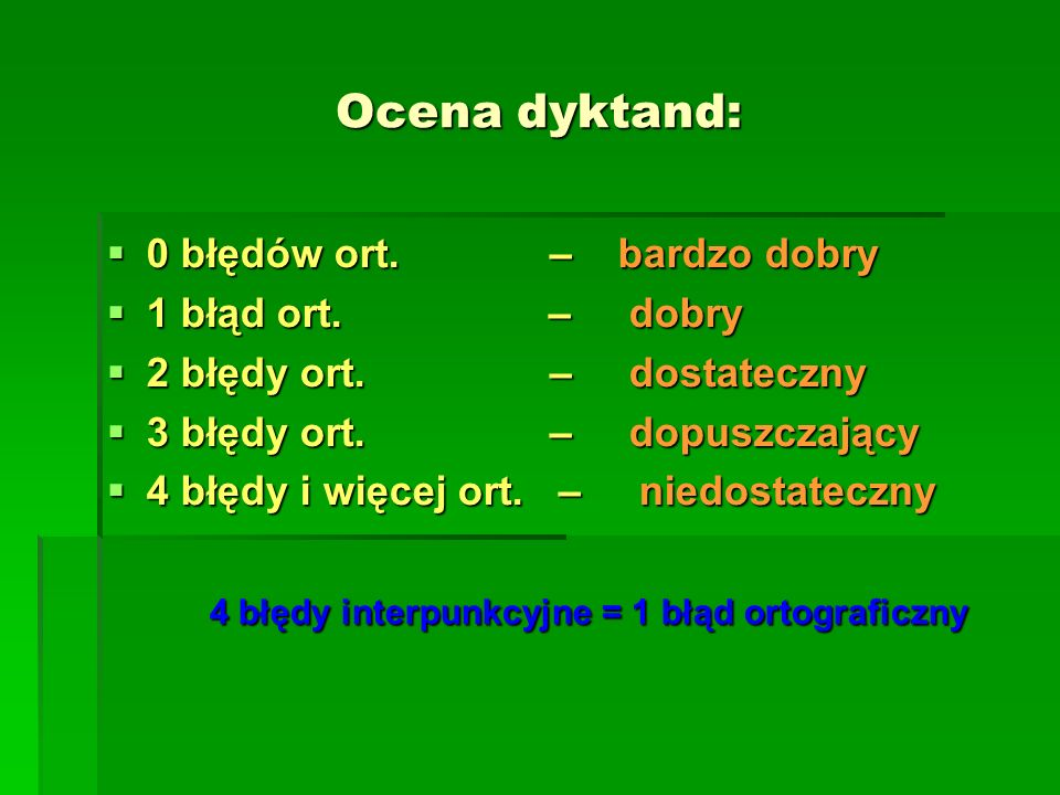 4 błędy interpunkcyjne = 1 błąd ortograficzny