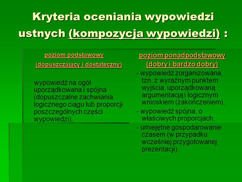 Kryteria oceniania wypowiedzi ustnych (kompozycja wypowiedzi) :