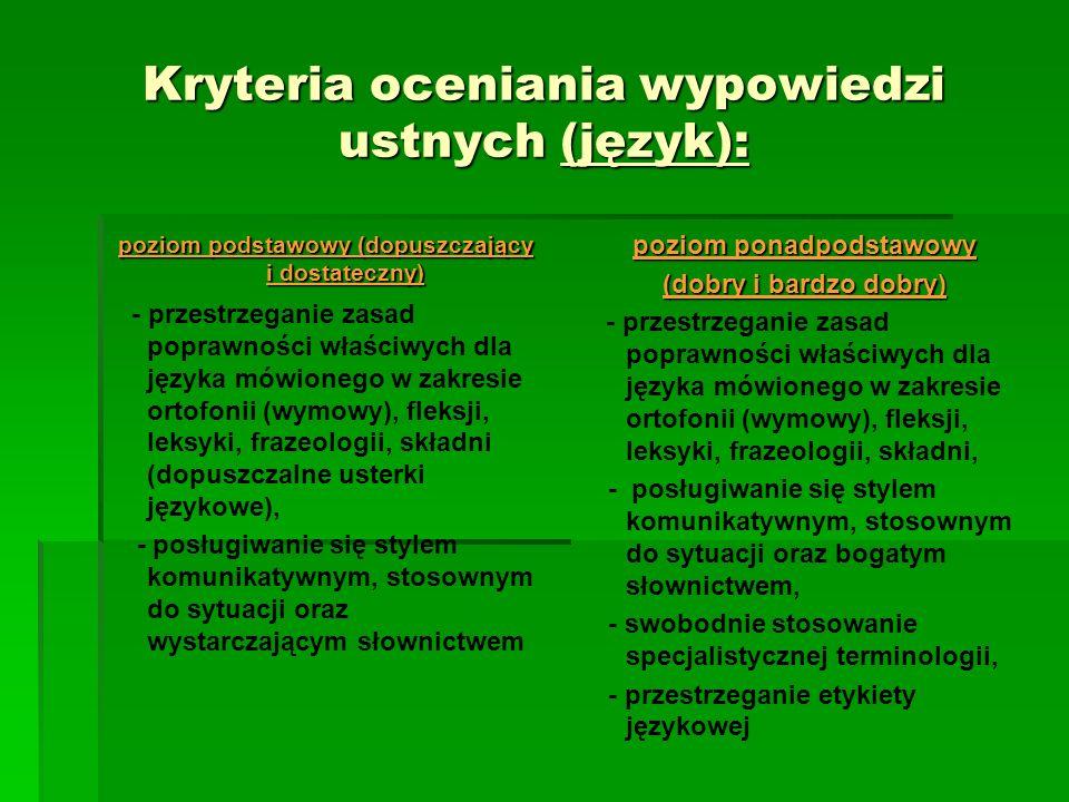 Kryteria oceniania wypowiedzi ustnych (język):