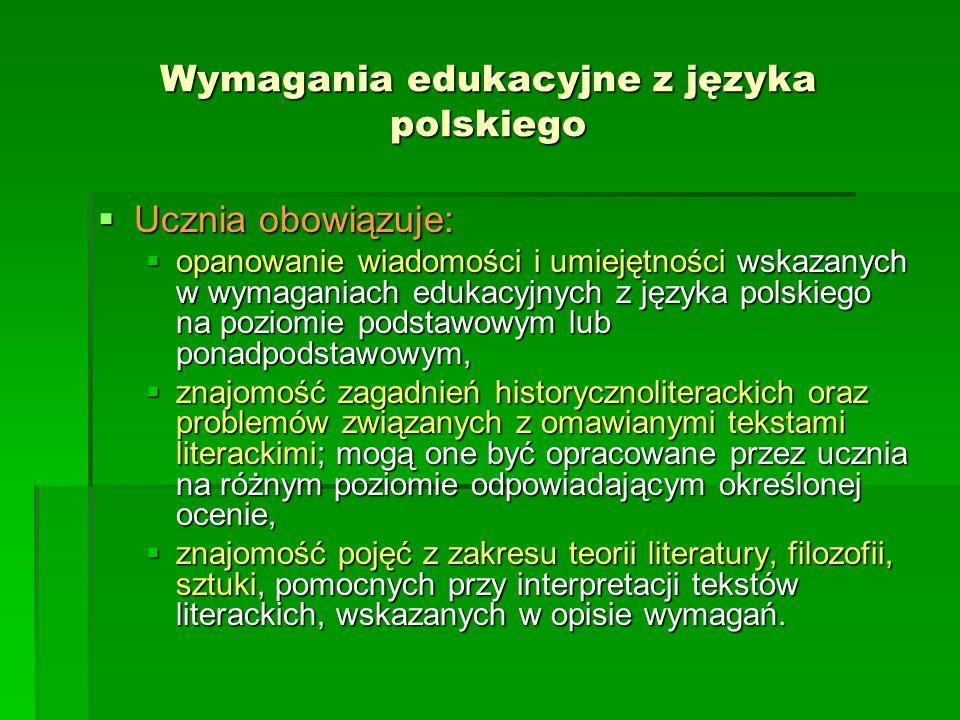 Wymagania edukacyjne z języka polskiego