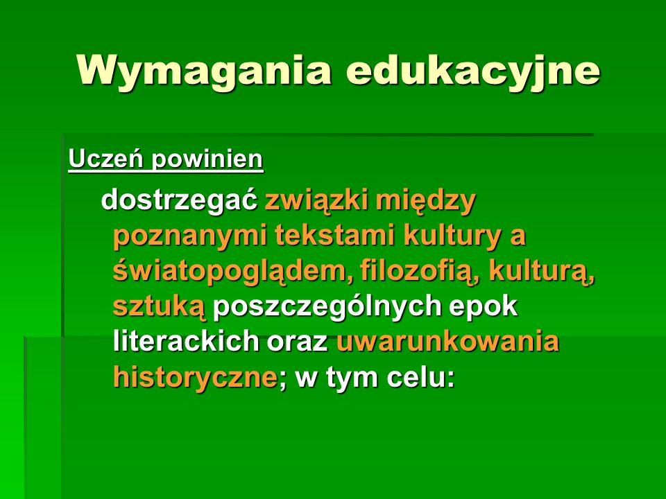 Wymagania edukacyjneUczeń powinien.