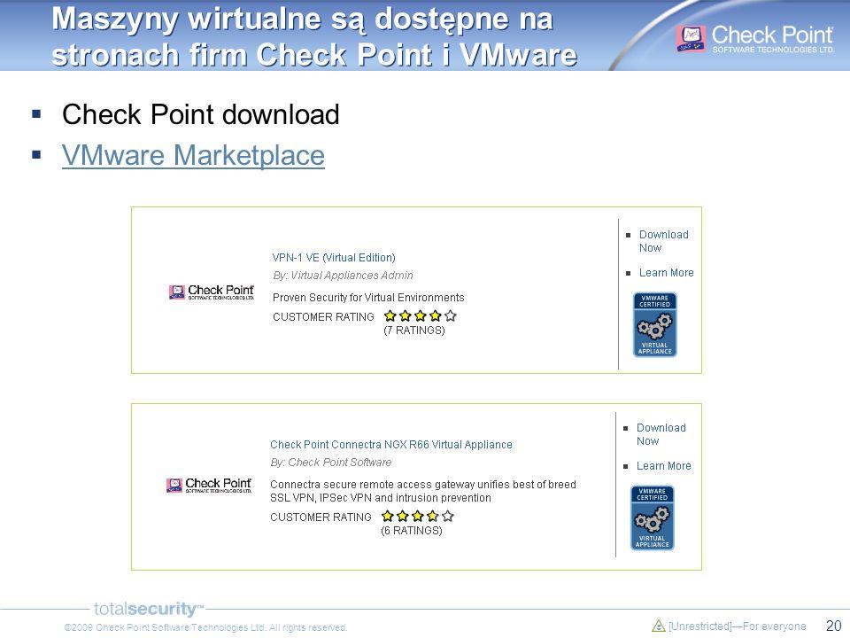 Maszyny wirtualne są dostępne na stronach firm Check Point i VMware