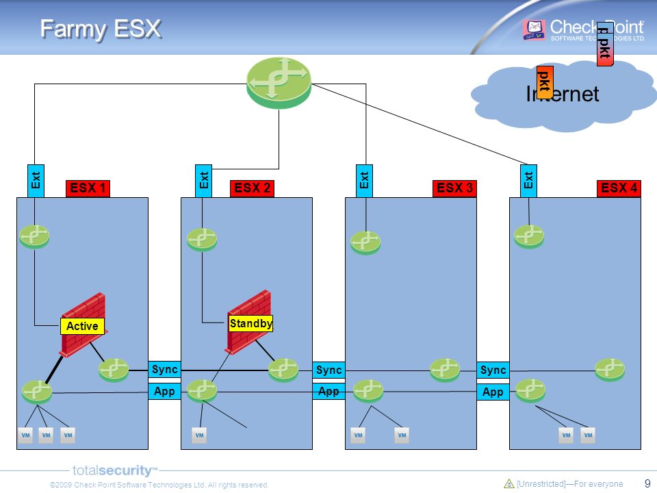 Farmy ESX Internet pkt pkt pkt ESX 1 ESX 2 ESX 3 ESX 4 Ext Ext Ext Ext