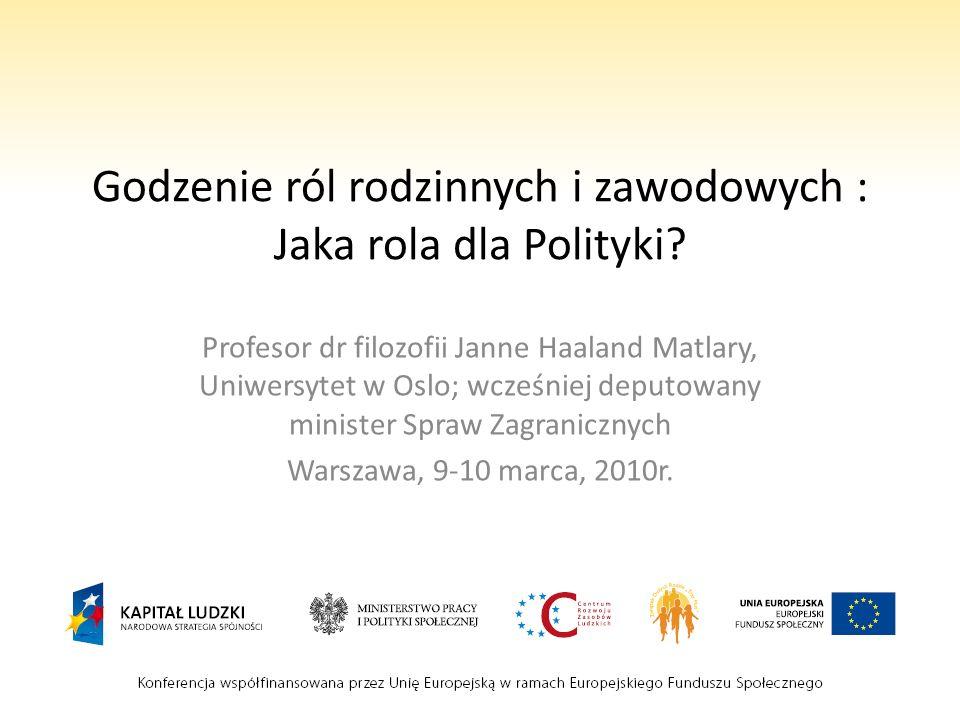 Godzenie ról rodzinnych i zawodowych : Jaka rola dla Polityki