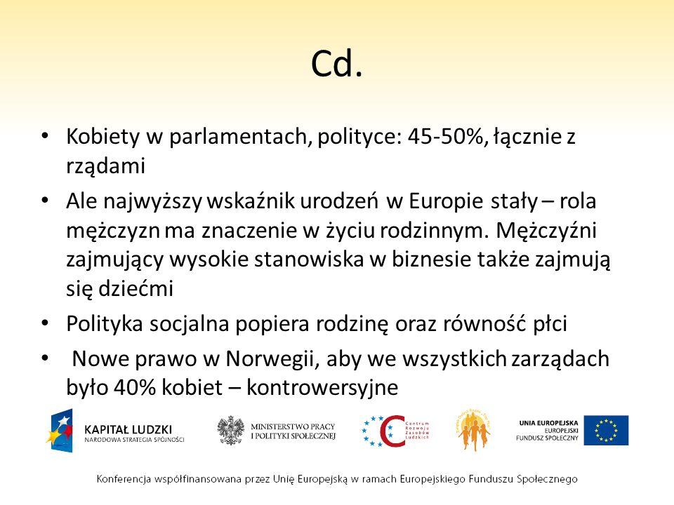 Cd. Kobiety w parlamentach, polityce: 45-50%, łącznie z rządami