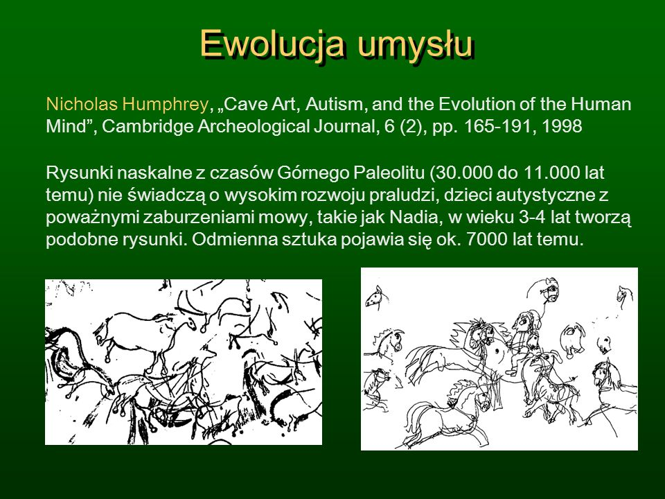 "Ewolucja umysłu Nicholas Humphrey, ""Cave Art, Autism, and the Evolution of the Human Mind , Cambridge Archeological Journal, 6 (2), pp. 165-191, 1998."