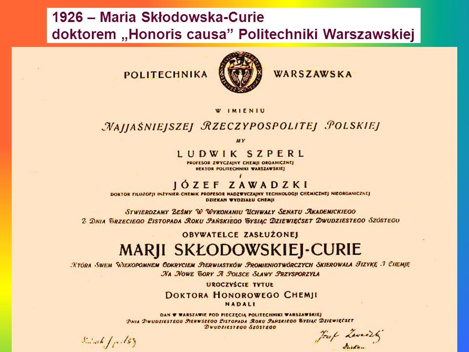 1926 – Maria Skłodowska-Curie