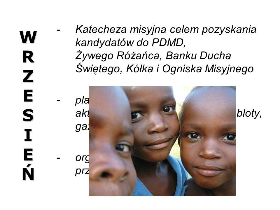 W R Z E S I E Ń Katecheza misyjna celem pozyskania kandydatów do PDMD, Żywego Różańca, Banku Ducha Świętego, Kółka i Ogniska Misyjnego.