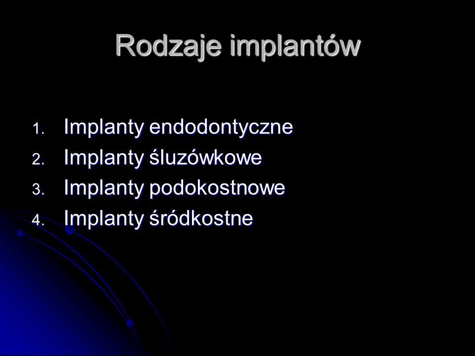 Rodzaje implantów Implanty endodontyczne Implanty śluzówkowe