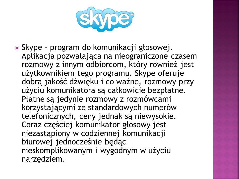 Skype – program do komunikacji głosowej